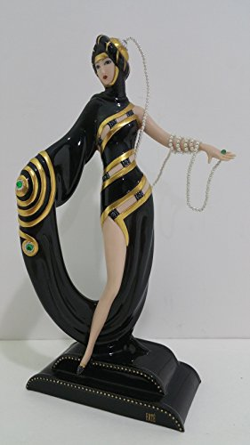 "Franklin Mint House of Erte Limited Edition Porcelain ""Pearls & Emeralds"" Figurine."