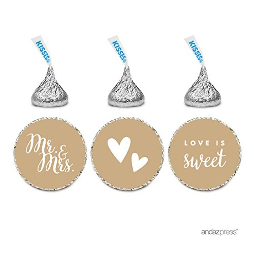 Andaz Press Chocolate Drop Labels Trio, Fits Hershey's Kisses, Wedding Mr. & Mrs., Tan Brown, 216-Pack