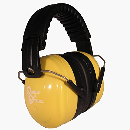 Sable & Steel Highest NRR 35db Safety Ear Muffs Auto Adjustable Earmuffs Shooters Hearing Protection Ear Muffs For Sports Outdoors Shooting Racing Work. Fits Adults Children.Yellow