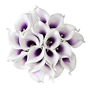 Houda Calla Lily Bridal Wedding Artificial Fake Flowers Party Decor Bouquet PU Real Touch Flower 10PCS (Purple White)