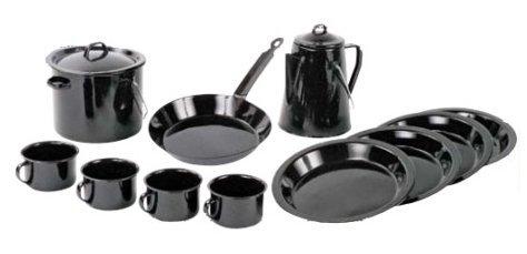 World Famous Enamel 13 Piece Camp Cookware Set, Outdoor Stuffs