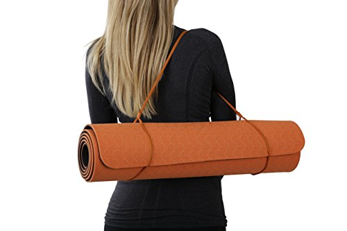Yoga mat with a double layer thick 6mm eco-friendly non-toxic TPE material for an anti-allergic and anti-slip exercise mat used by professionals. By A Tiny Bit Fit. (Orange)
