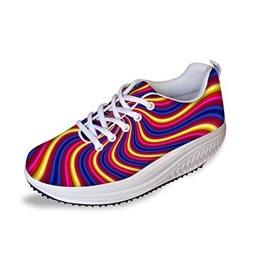 Bigcardesigns Cool High Platform Women's Toning Fitness Walking Shoes Sport Sneaker Pattern-3