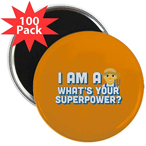 CafePress Emoji Superpower Farmer 2.25 Magnet (100 Pack) 2.25