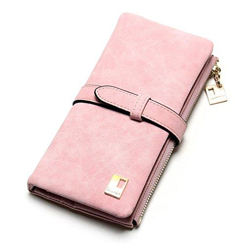 Haoling Zipper Femmes Wallet Femmes Embrayage Longue Drawstring Fold Portefeuilles Cuir Deux Nubuck Bourse Mode Pink BrqY8B