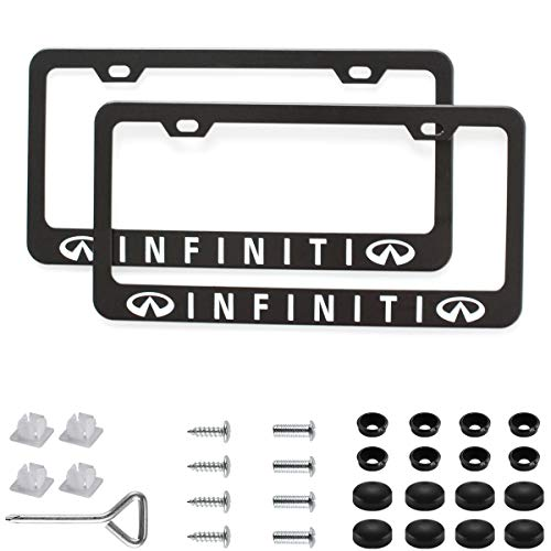 (Sparkle-um 2Pcs Newest Matte Aluminum Alloy Logo License Plate Frame,with Screw Caps Cover Set,Applicable to US Standard car License Frame, for Infiniti(Matte Black)