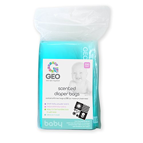 Scented Diaper Bags | Baby Powder Scent | Quick and Easy Disposal | Neutralizes Odors | Disposable | Great for Home or On-The-Go | 200 Bags (Bag Baby Powder Diaper)