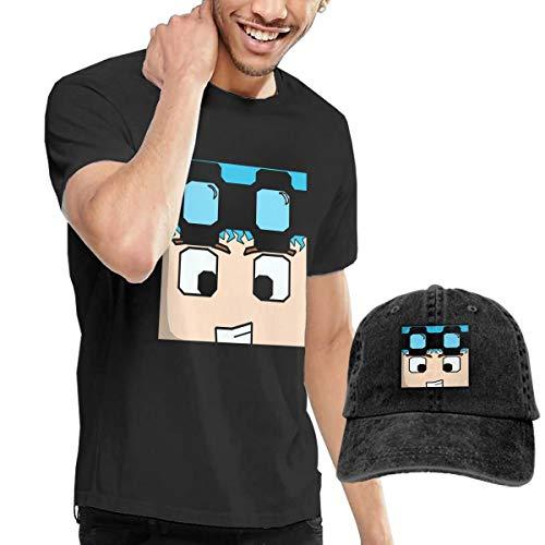 AOOIUU DanTDM Dan TDM Men's Cotton Short Sleeve T-Shirt and Cowboy Style Cap Hat
