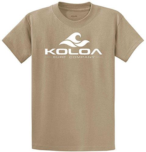 Koloa Surf Co. Wave Logo 50/50 Cotton Poly Blend T-Shirts 3X-Large-Desert Sand