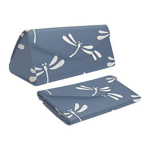 InterestPrint Dragonfly Magnetic Foldable Eyeglass Case Leather Hard Protective Storage