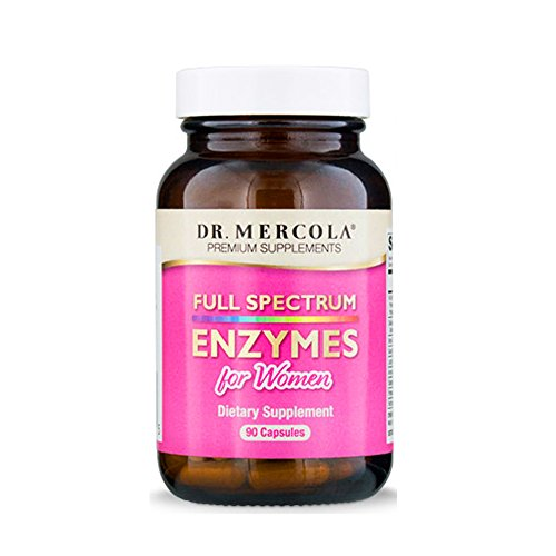 Dr. Mercola Full Spectrum Enzymes for Women – 90 Capsules –  Dietary Supplement to Break Down Food Molecules, Digest and Absorb The Nutrients – Helps Reduce Occasional Digestive Discomfort*