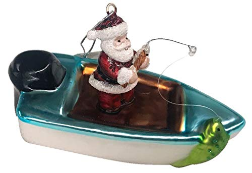 Barry Owens Blown Glass Santa Fishing in a Power Boat Hanging Ornament BV478 5.25 Inches x 2.4 Inches