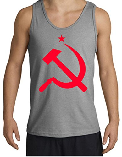 Mens Red Hammer And Sickle Russia Sports Grey Tank Top Med