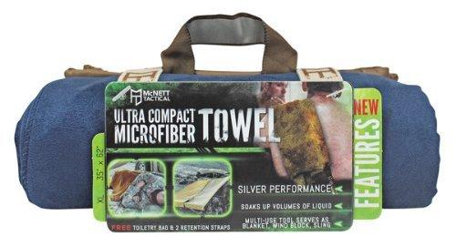 McNett Tactical Ultra-Compact Microfiber Towel, Navy Blue, XL, 35