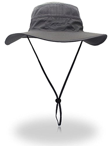 YOYEAH Outdoor UPF 59+ Boonie Hat Outdoor Mesh Sun Hat Bucket Hats Fishing Hats Dark Grey