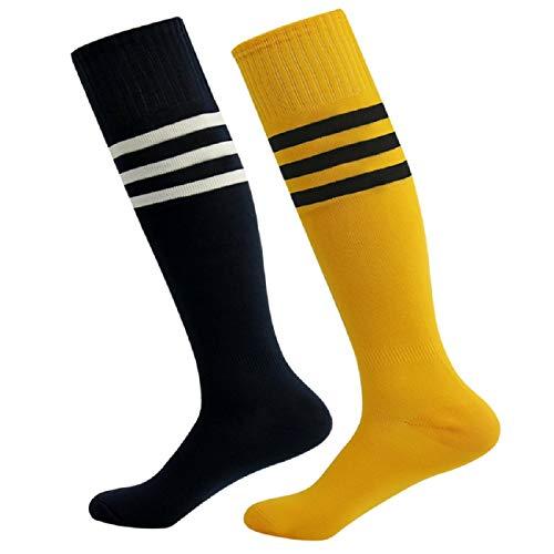 (Soccer Socks,Fasoar Unisex Team Sports Football Long Tube Baseball Socks 2 Pairs Black Orange)