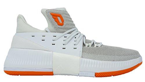 Adidas Dame 3 Nba / Ncaa Scarpe Uomo Basket Bianco-arancione Solido