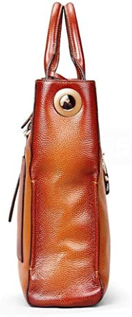 CYY Damen Handtasche Leder Rindsleder Schultertasche Mode Retro Pendler Tasche