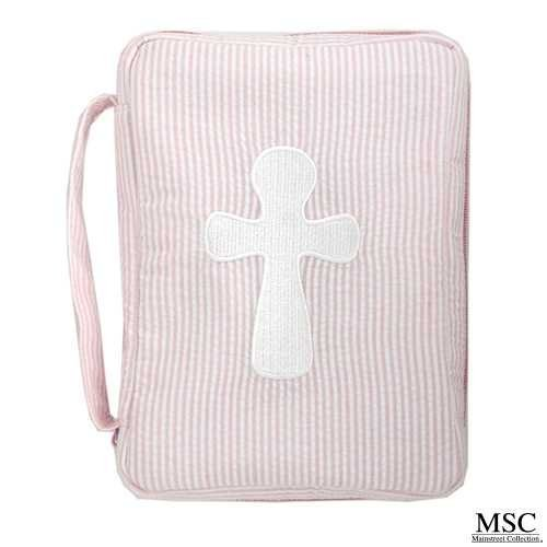 e Seersucker Print Bible Cover Case with Embroidered Cross and Cross Zipper Pull Detail by Main Street (Embroidered Seersucker)
