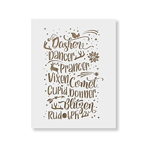 Reindeer Names Stencil Template for Crafting - Christmas Stencil for Painting Wood -