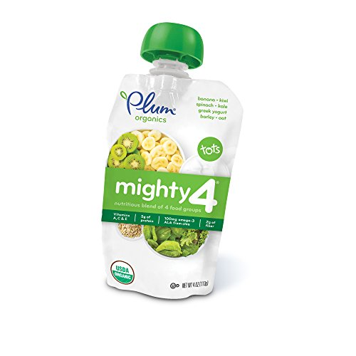 Large Product Image of Plum Organics Mighty 4, Organic Toddler Food, Banana, Kiwi, Spinach, Kale, Greek Yogurt, Barley and Oat, 4 ounce pouch (Pack of 12)