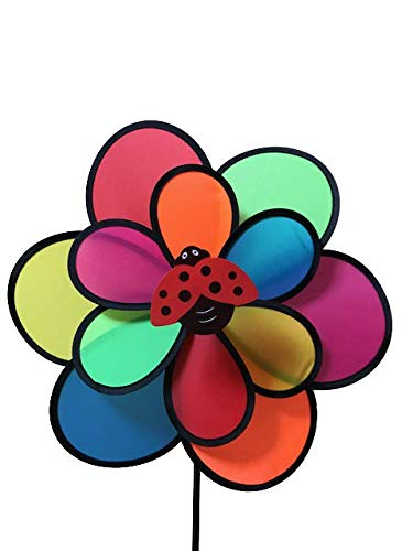 Ladybug 30 Inch Double Pinwheel Fun Garden Yard Spinner with Yard Stake Rod. Colorful for Yard or Garden Decoration Wind Spinner Brightens Your Garden Yard Outdoor Area with Fun Colors and Movement ()
