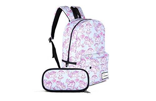 Large Rainbow Unicorn Backpack,Laptop Bag with Pencil Case Set for School,Travel (Womens Unicorn)