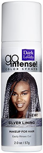 (Temporary Hair Color by SoftSheen-Carson Dark and Lovely, Go Intense Color Sprays, Hair Color Spray for Instant and Ultra-vibrant Color even on Dark Hair, For Natural and Relaxed Hair, Silver)