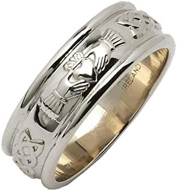 Ladies Wide Rounded Claddagh Wedding Ring Silver From Ireland