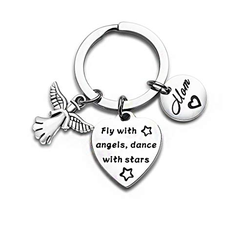 Loss of Mother Jewelry Memorial Keychain Sympathy Gift Mom Remembrance Keyring Guardian Angel Keychain Fly with Angels Dance with Stars Heart Keychain (Keychain) (Words Of Sympathy For Loss Of Mother)