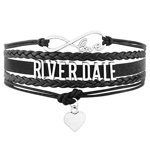 PHASSION Riverdale Bracelet - Black Handmade Adjustable Wrap with Infinity Love Charm Jewelry Gift