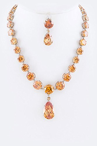 Karmas Canvas Cubic Zirconia Statement Necklace Set (Topaz) by Karmas Canvas
