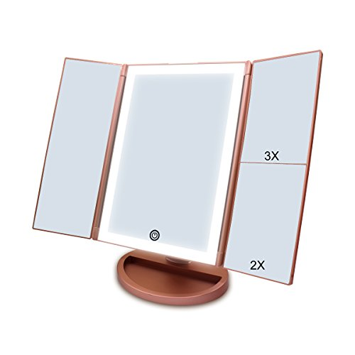 CZW Lighted Vanity Makeup Mirror with Touch Screen and 3X/2X/1X Magnification, USB Charging or Battery Supply Tabletop Tri-fold LED Mirror, 180 Degree Free Rotation Makeup Mirror (Rose - Large Rose Gold Mirror