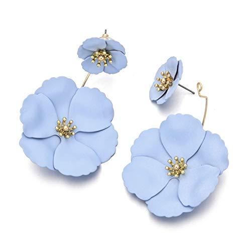 Metal Matte Dual Flower Petal Tiered Earrings Pierced Garden Party Drop Dangle Earrings Detachable Flower Earring Front and back Daisy Floral Petals Earrings For Women (Blue)