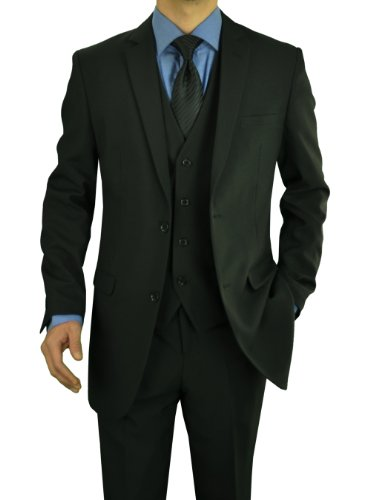 Darya Trading Modern Fit Men's Suit Solid 2 Button Three Piece with Vest