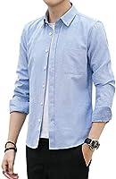 MISSX シャツ メンズ 長袖 シャツ オックスフォードシャツ ボタンダウン カジュアル スポーツ ワイシャツ 無地 春 夏 秋 冬 蓝色2XL