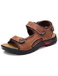 DADAWEN Men's Leather Strap Gladiator Sandal