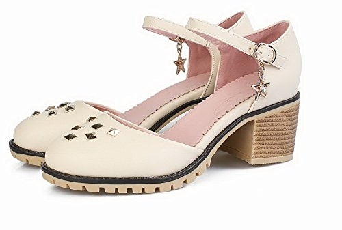 Beige Toe Women's 40 Closed WeenFashion Pu Heels Solid Sandals Buckle Kitten z1Rd1q0