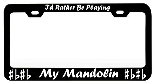 YEX Abstract I'd Rather Be Playing My Mandolin (1) License Plate Frame Car License Plate Covers Auto Tag Holder 6