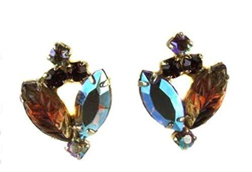 Aurora Borealis Fruit Salad Leaf Rhinestone Earrings