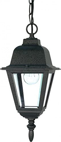 Nuvo 60 489 Textured Hanging Lantern with Clear Glass, Textured Black