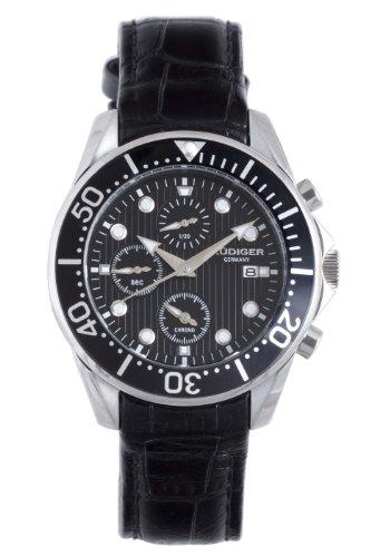 - Rudiger Men's R2001-04-007L Chemnitz Black IP Black Dial Chronograph Diving Watch