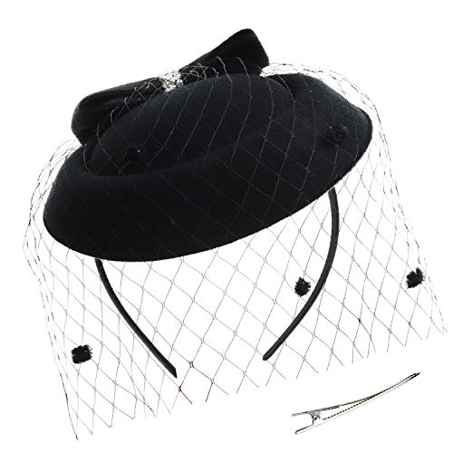 DRESHOW Fascinator Hat Cocktail Tea Party Bow Hat Netted Pillbox Hat with Hair Clip and Headband for Women and Girls ()