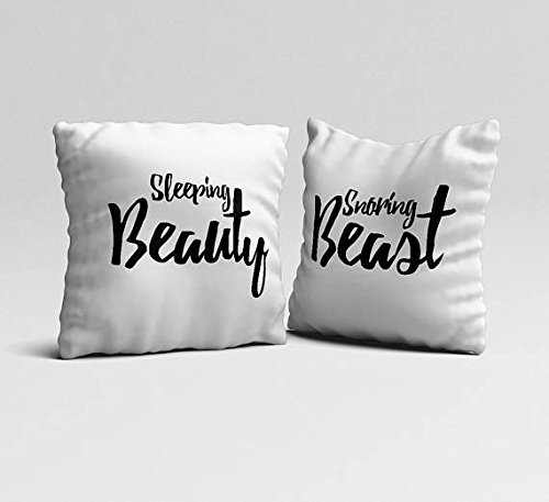 Snoring Beast Sleeping Beauty Throw Pillows Set Of 2 Couples Funny White  Pillow Cases Housewarming Gift