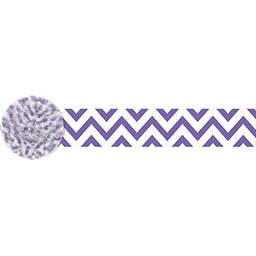 Amscan Fun-Filled Party Chevron Crepe Streamer Decoration, Purple, Paper , 81',