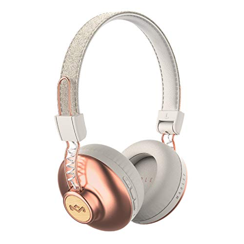 House of Marley, Positive Vibration 2 Wireless Headphones Noise Isolating, In-Line 1-Button Mic on Cable, Removable Tangle-Free Cable, Long Battery Life, Foldable On-Ear Design Copper