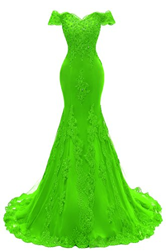 Himoda Women's V Neckline Beaded Evening Gowns Mermaid Lace Prom Dresses Long H074 18W Lime Green