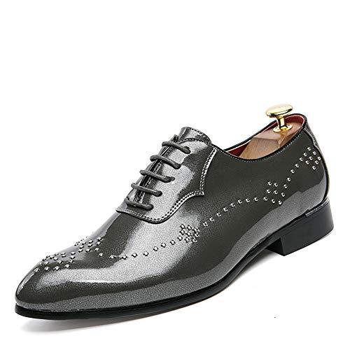 Xujw-shoes, 2018 Scarpe Stringate Basse Casual da uomo in pelle lucida Scarpe Rivet scarpe a punta in pelle verniciata brogue per abito da sposa (Color : Grigio, Dimensione : 37 EU) Grigio