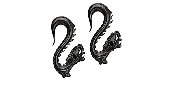 2G WickedBodyJewelz Hand Carved Organic Chinese Dragon Horn Taper 6mm - Sold as a Pair