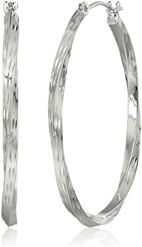 10k White Gold Diamond Cut Round Hoop Earrings